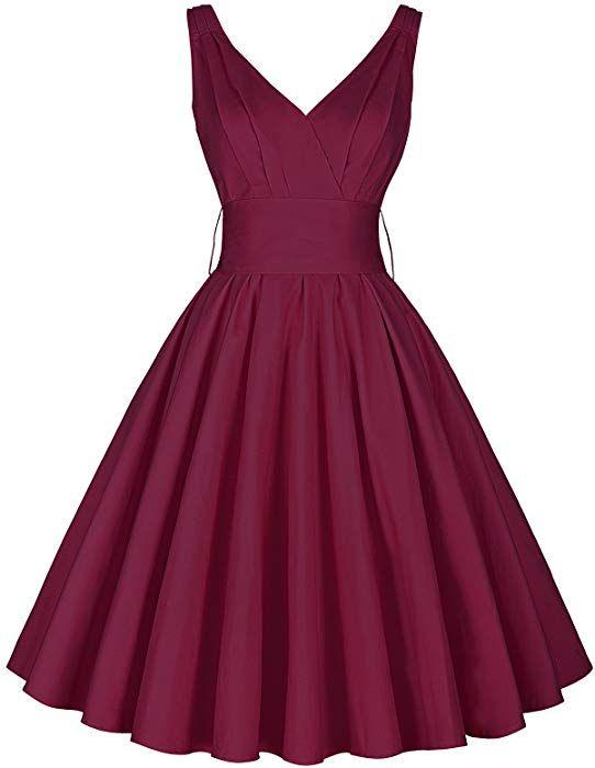 e36b9ea11c0 Amazon.com  1950s Audrey Hepburn Classic Flared Midi Dress Size L Wine Red   Clothing