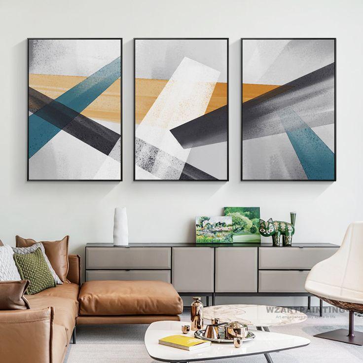 Framed wall art set of 3 prints geometric abstract blue