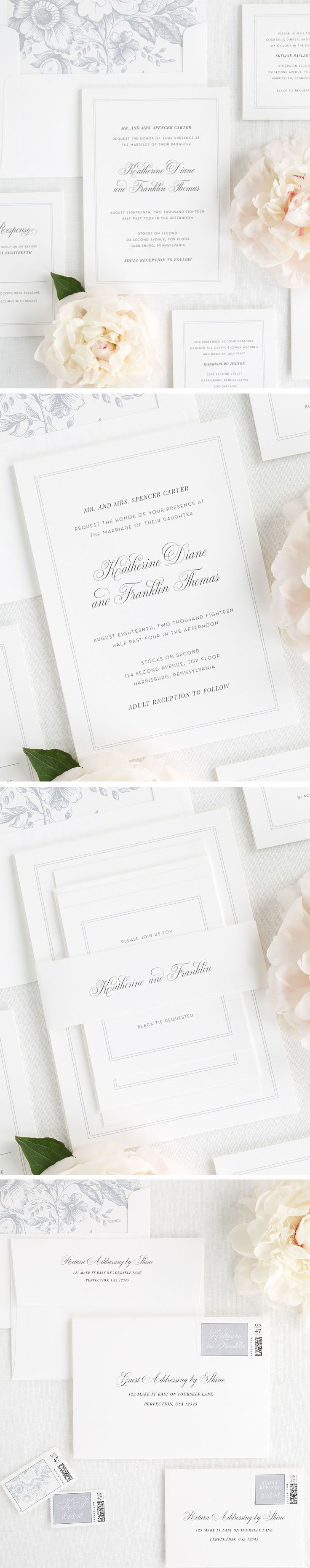 Simple and Classic wedding invitation with a thin double border. Complete with a floral envelope liner in dove gray and a classic white belly band. Create a consistent look throughout your stationery with guest addressing and custom designed postage! Create your dream invitations with Shine- wording is fully customizable and we have 40+ ink options to choose from!