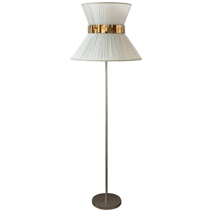 Tiffany Floor Lamp Nickel Brass, Silk Silver Silvered Glass | From a unique collection of antique and modern floor lamps at https://www.1stdibs.com/furniture/lighting/floor-lamps/
