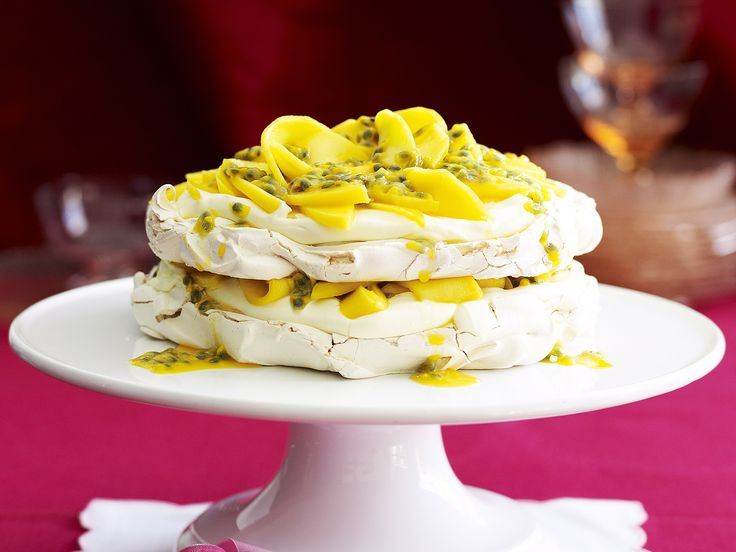 Mango and passion fruit meringue cake