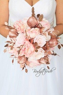 Brillantes flores de boda de oro rosa para el ramo de novia # ramo de flores #decoraciones de boda de oro # …