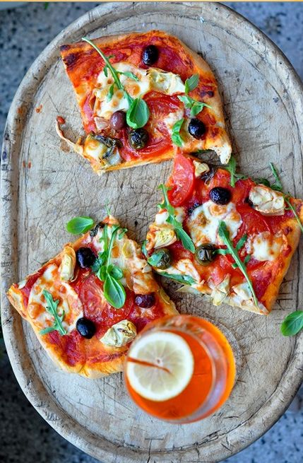 Pizza #cooking #dinner #savory #recipes #pizza #food #tomatoes #olives #summer