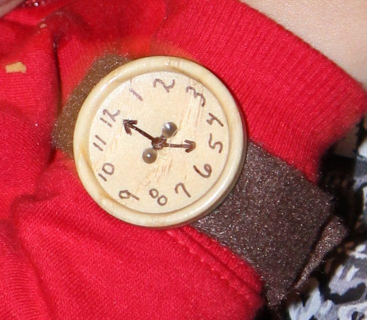 Daniel Tiger Watch.. Felt..hot glue, marker, velcro and one big button