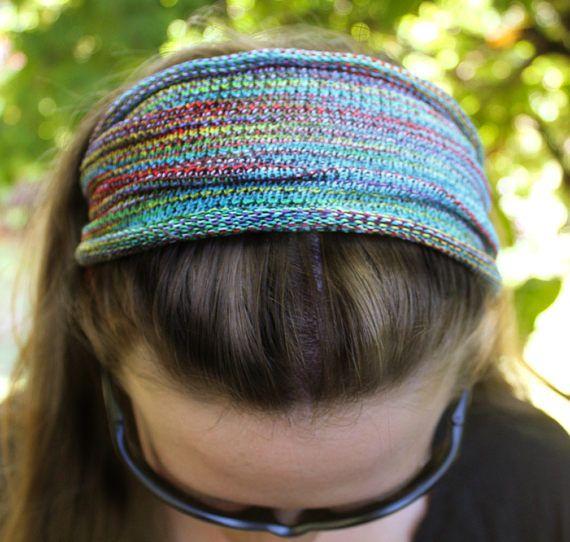 Rainbow Yoga Knit Headband Rainbow Headband Hippie Headband