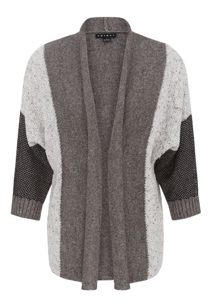 Tribal Heather Beige Boucle Mixed Knit Open Cardigan