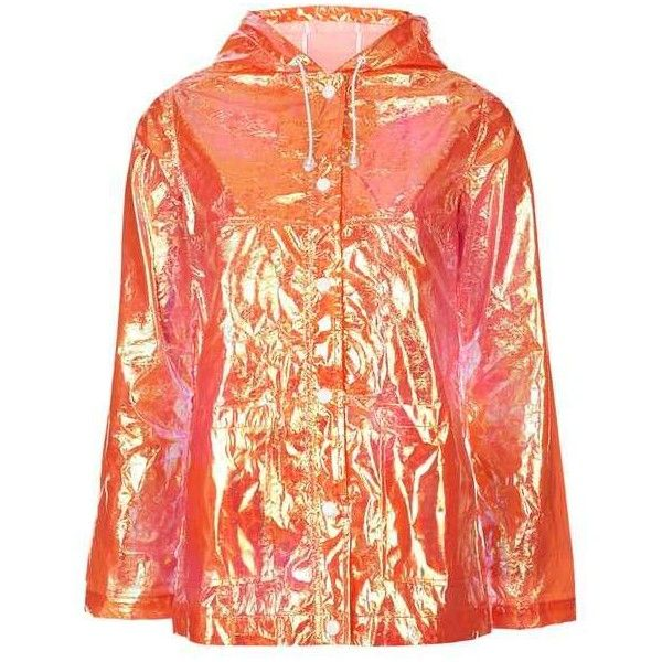 TopShop Metallic Festival Rain Mac ($26) ❤ liked on Polyvore featuring outerwear, coats, jackets, tops, metallic coat, red coat, topshop coat, red hooded coat and hooded coat