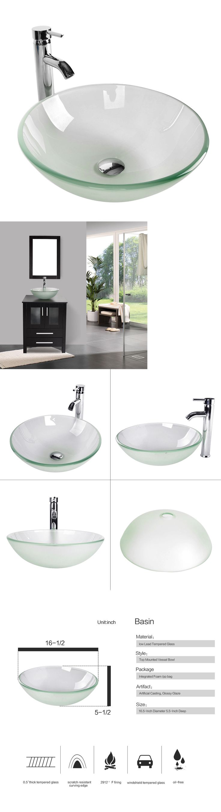 Room ider in the corner bathroom ideas opaque glass opaque glass - Sinks 71283 Bathroom Frosted Clear Glass Vessel Sink Bowl Chrome Faucet Pop Up Drain