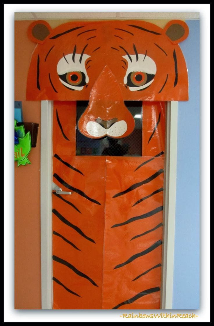Cartoon classroom door - Jungle Animals As Door Decorations In Preschool