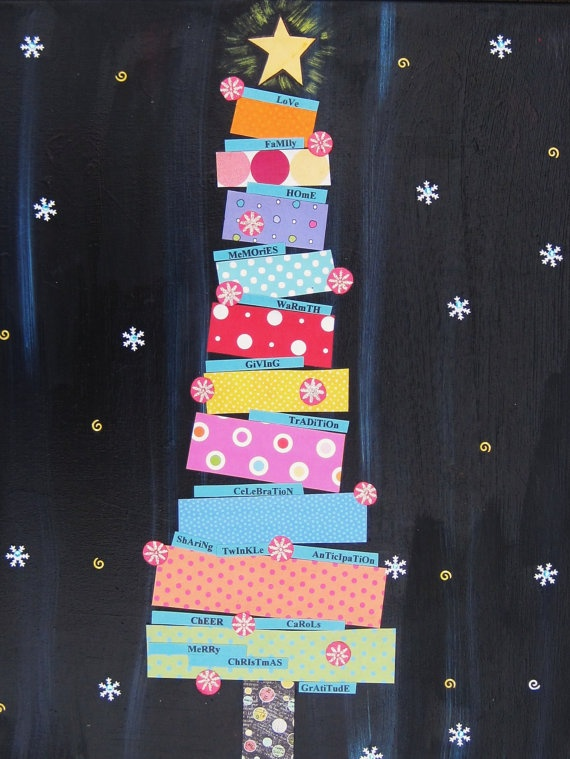 Great Christmas Tree Print - use scrapbook paper on a black piece of construction paper.
