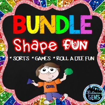 Shapes Bundle - Perfect for Math Stations - Differentiated shape sorting, games and roll a die fun!