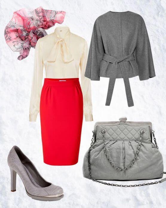 Красная юбка-карандаш, белая блузка, шарфика, серые туфли, сумка и накидка.