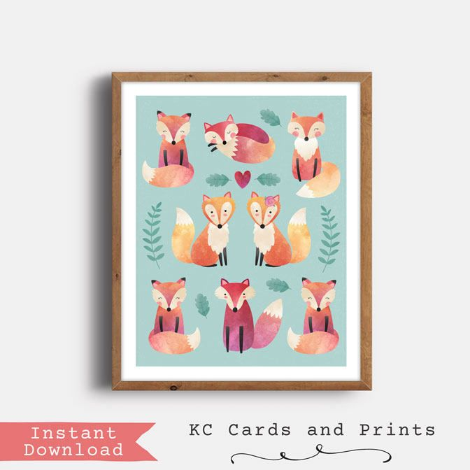 Fox Poster, Forest Friends Nursery Art, Forest Friends Nursery Print, Kids Room Decor, Printable, Digital Print, Instant Download by KCCardsandPrints on Etsy