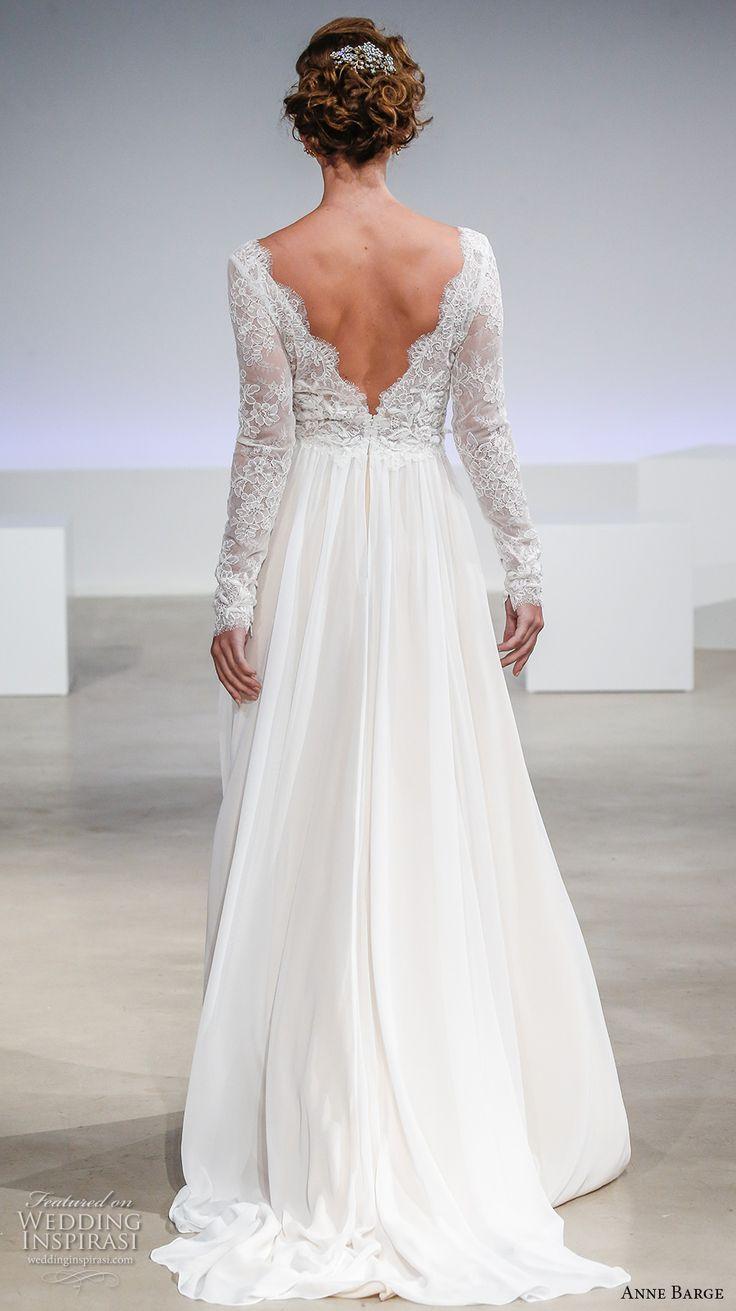 anne barge fall 2017 bridal long sleeves scallop v neck heavily embellished bodice beautiful romanti high waist a  line wedding dress v back sweep train (lena) bv