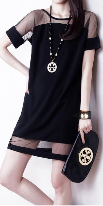 Pretty Peep-Show Dress - Black
