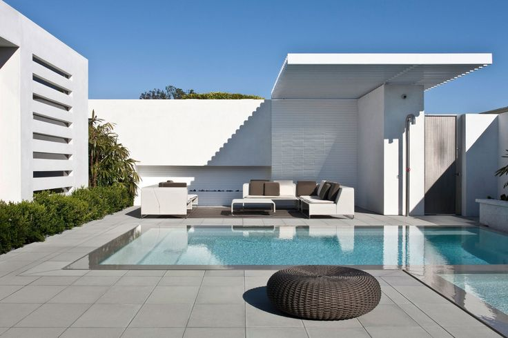 Exterior:Architecture. Courtyard Modern House Design With Pool Ideas Modern Exterior Tile For House Flooring Walls Installation Floor Pain A...