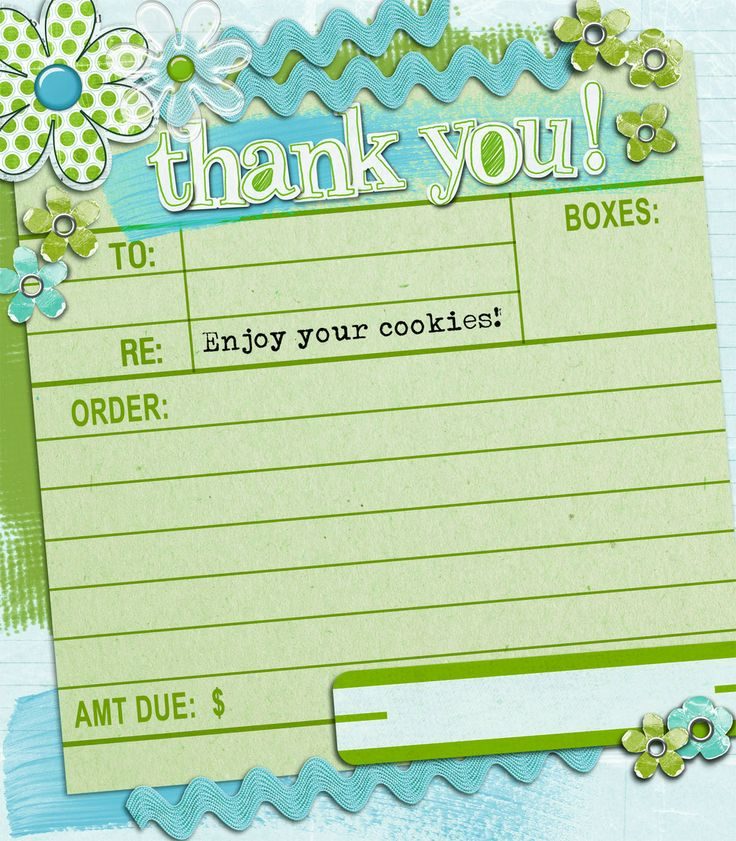Cute way to organize Girl Scout Cookie orders and say Thank You.