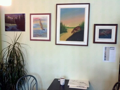 Cougar, Spitfire, BlueNose II and Clouds that Look Like Mountains now on display at T.A.N. Coffee in Wolfville NS