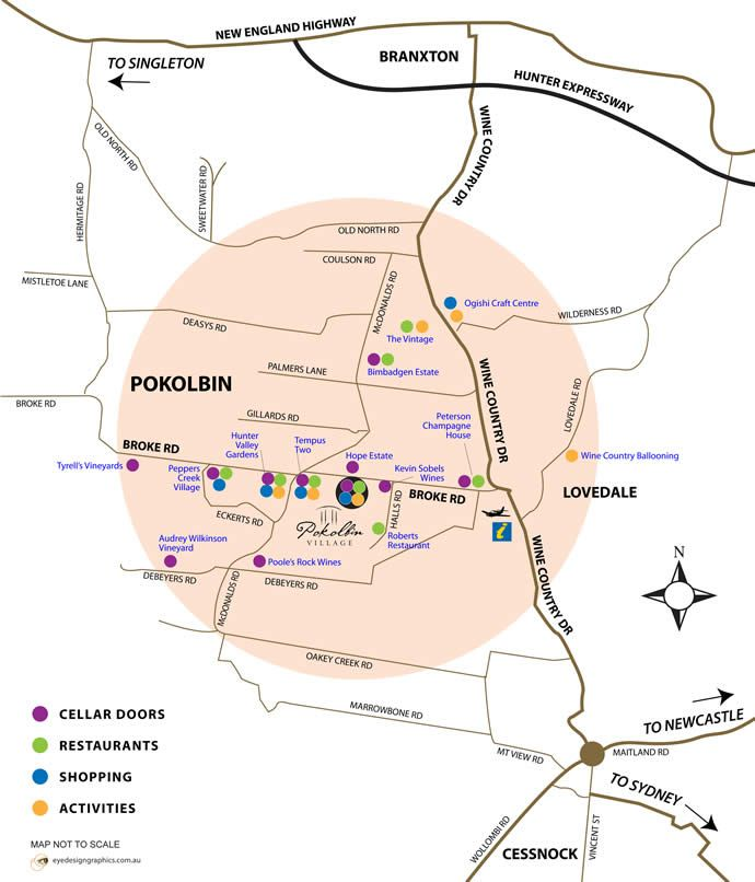 Just some of the attractions, cellar doors, wineries, restaurants and shopping locations in Pokolbin, Hunter Valley, NSW, Australia. We are on Thompsons Road, above the 'E' in 'Eckerts Street'.