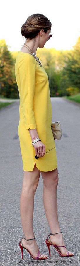 Cocktail chic...summer yellow. dress. women fashion outfit clothing stylish apparel @roressclothes closet ideas