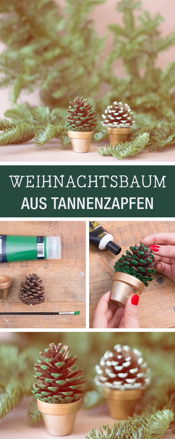 Einfache DIY Idee für Weihnachten und den Advent: Weihnachtsbäume aus Tannenzäpfen selber machen / easy diy idea for christmas: craft christmas trees with pine cones via DaWanda.com