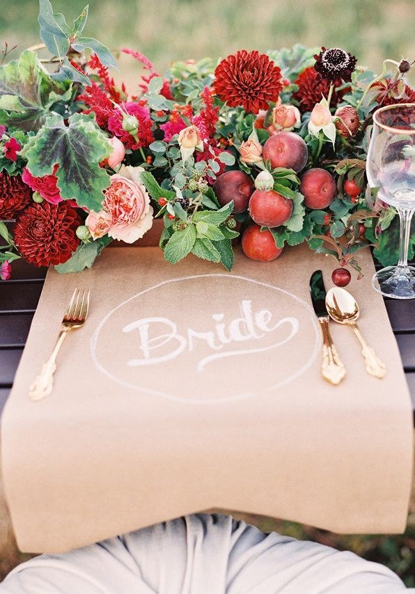 Fall flower + foliage and a personalized place mat. Photography by: Lindsey Stewart of Green Apple #wedding #fallwedding