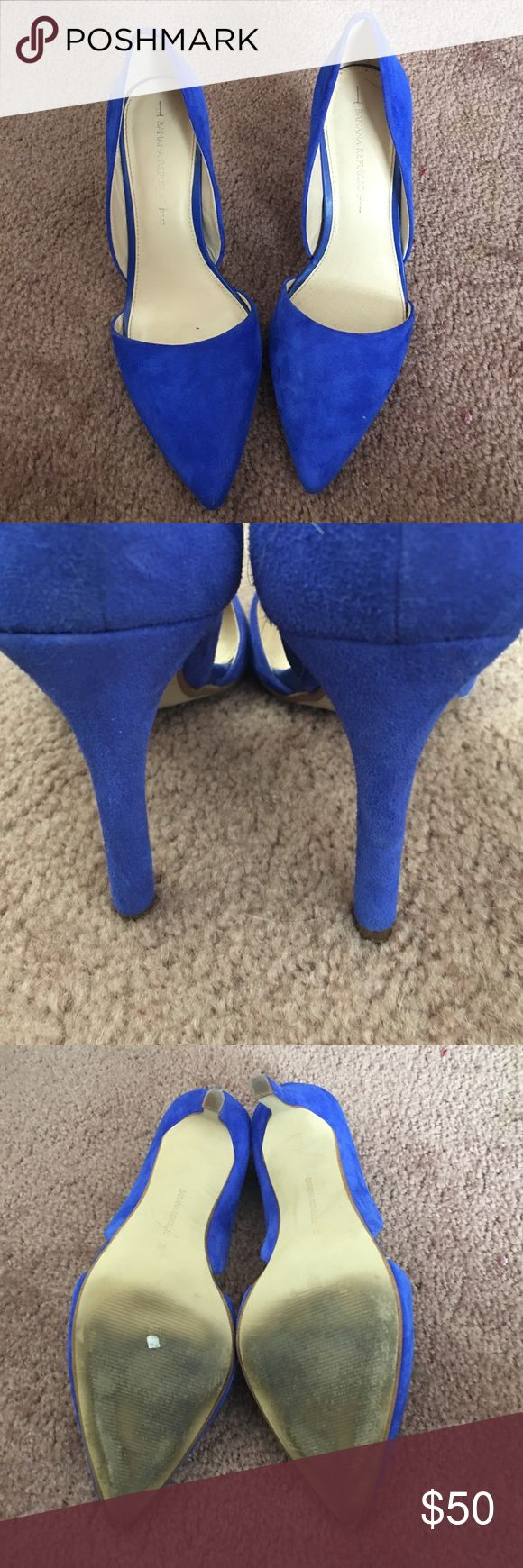 """Blue suede pumps Gently worn suede d'orsay pumps in excellent condition. Fun royal blue color to punch up your outfit a bit. No visible signs of wear. Appropriately 4"""" heel Banana Republic Shoes Heels"""