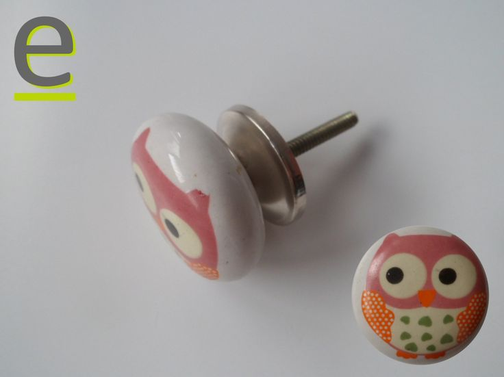 Pomello decorato con gufetto.... http://easy-online.it/it/shop/camerette/pomello-in-ceramica-indiana/