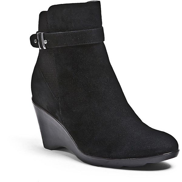 Blondo Women's Liberata Waterproof Boots Wedges ($190) ❤ liked on Polyvore featuring shoes, boots, ankle booties, ankle boots, black suede, black wedge bootie, leather wedge booties, wedge ankle boots, black leather booties and black wedge boots