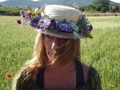 sombrero country lavanda mariposa