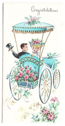 Vintage Married Couple in Fancy Car Greeting Card