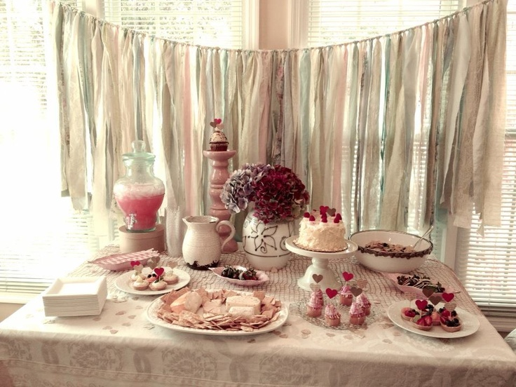 my shabby chic bridal shower decoration for the food table. Black Bedroom Furniture Sets. Home Design Ideas