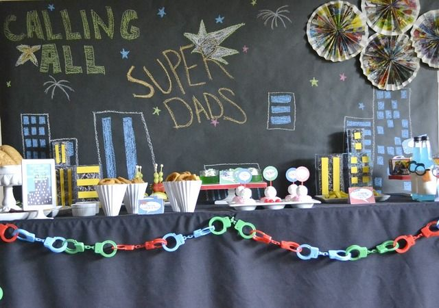 How great is this Father's Day superhero table!