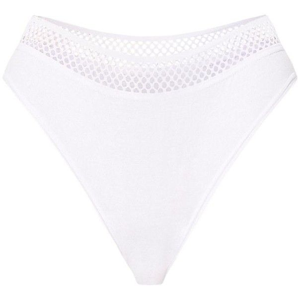 White Mix and Match Fishnet Trim Knickers ($14) ❤ liked on Polyvore featuring intimates, panties and white knickers