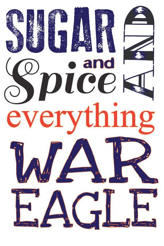 Auburn University wall decor, nursery, girls room. Sugar and spice. War Eagle!