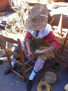 Chair weaving at the 18C Montreal Markets
