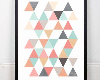 Driehoeken afdrukken geometrische art van ShopTempsModernes op Etsy