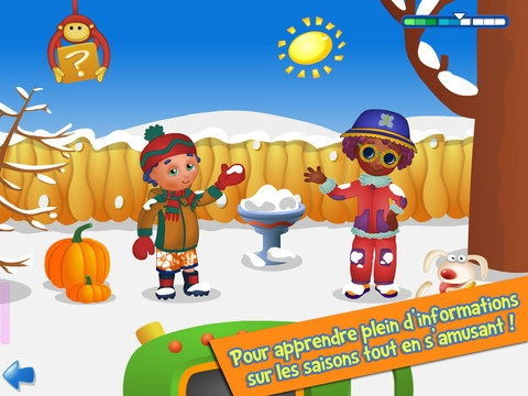 Apprends avec Poko les saisons: highly recommended app (by my four-year-old son and Delphine's seven-year-old native speaker daughter), thanks to its contextualized vocabulary practice via interactive games; target vocab includes weather, seasons, and clothing and activities appropriate for the various seasons.  The developer offers several other similar apps (which for some reason I have been unable to download from the US iTunes store--must investigate).