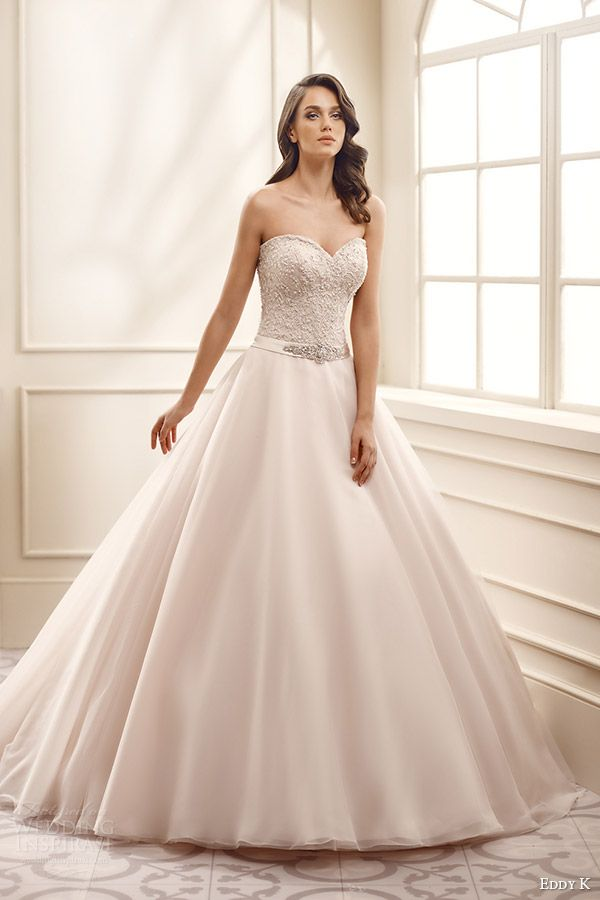 eddy k bridal 2016 strapless sweetheart lace bodice ball gown wedding dress (ek1068) mv champagne color romantic