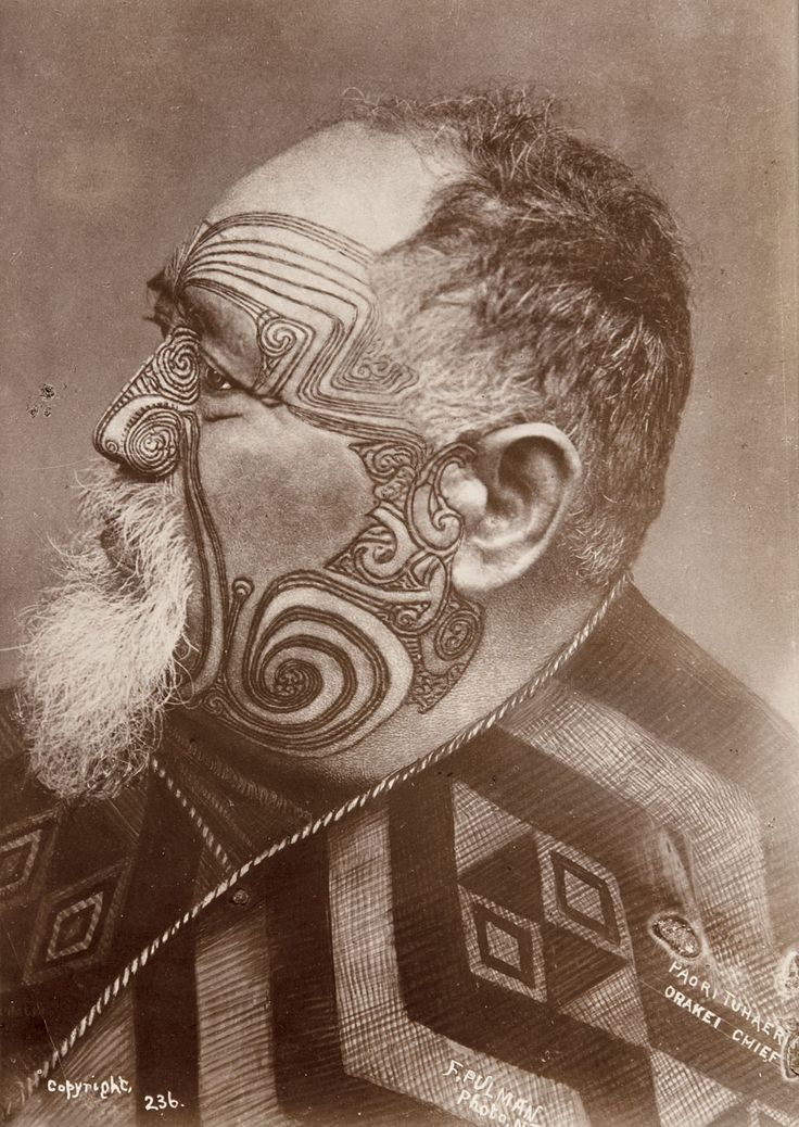 Portrait of paora tuhaere orakei chief by frederick for 19th century tattoos