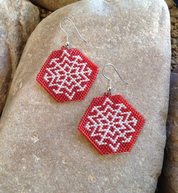 Snowflake Beaded Earrings by DoubleACreations on Etsy