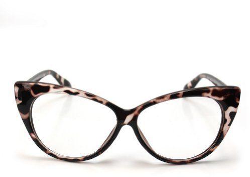 AllBeauty Retro Vintage Women's Eyeglasses Cat Eye Plastic Frame Glasses Lens - Leopard