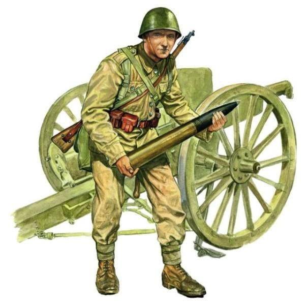 Kampania wrześniowa 1939  Polski kanonier, w tle działo wz. 97 Schneider kal. 75 mm. Rys. Marek Szyszko.