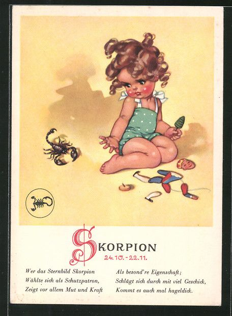 Alte Ansichtskarte: AK Eigenschaften des Sternzeichens Skorpion, Mädchen beobachtet einen Skorpion