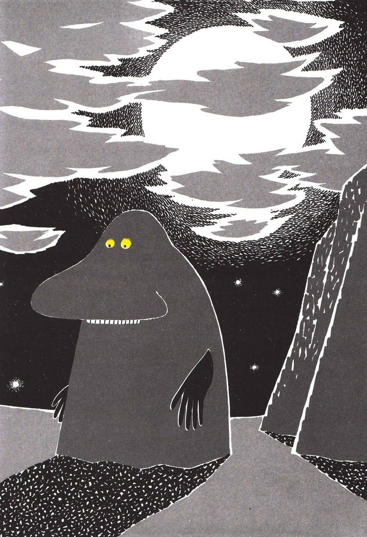The Groke.  Tove Jansson - My favorite character, named my gray cat after  Mårran(=the Groke) http://youtu.be/1QERWm-V1CQ