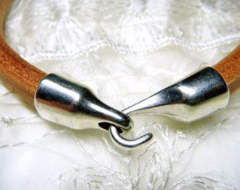 Silver Hook Clasp, One Hook and Eye Clasp Licorice Oval Leather Size 10x6mm - 1set