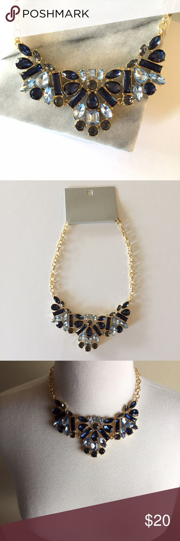 Jeweled statement necklace • navy blue and gold Gorgeous piece in light blue and navy blue with a gold tone adjustable chain. Makes a perfect gift! Brand new with tag. Jewelry Necklaces