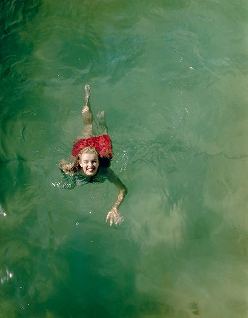 Happy Norma Jeane swimming