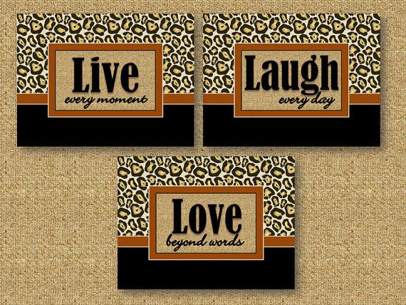 Leopard Print Wall Art Decor 5 x 7 Prints Live Laugh Love Inspirational Quotes