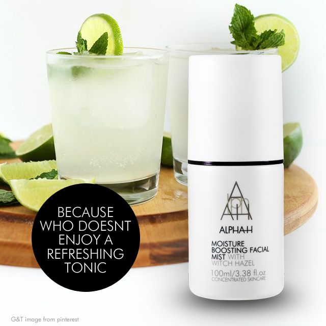 Refreshing Tonic...and not that one either. Alpha-H Moisture Boosting Facial Mist stored in the fridge is the perfect pick-me-up on a hot day. You can use after applying make-up for a dewy refreshed complexion or before for an extra hydration boost.  #alpha-h #alphahmist #alphahtonic #absoluteskinau